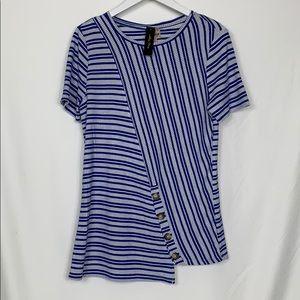 NWT Melissa Paige blue/white striped top size Lg